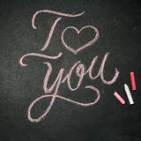 I Love You. Handwritten message on a chalkboard Stock Image