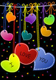 I Love You Hanging Hearts Valentines Day Cards. Hanging Hearts at night valentines day card. I Love You Message on hearts Royalty Free Stock Image