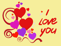 I love you. Happy Valentine's Day declaration of love, and I love you red text. Suitable for birthday and wedding. Vector illustration Stock Photo
