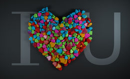 I Love You Heap of Colourful Heart Shape Black Background 3D Ren Stock Images