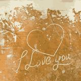 I Love you with heart on the concrete wall. Stock Image