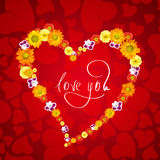 I love you. heart from flowers Royalty Free Stock Photos