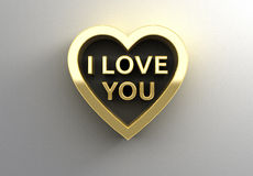 I Love You in heart - gold 3D quality render on the wall backgro Stock Photos