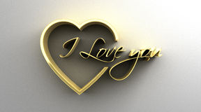 I Love You in heart - gold 3D quality render on the wall backgro Stock Photo