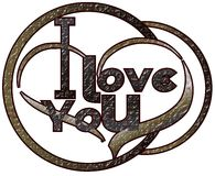 I Love you with heart isolated Royalty Free Stock Photography
