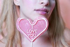 I love you heart lollipop Stock Photography