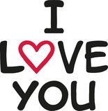 I love you with heart in love. Vector Royalty Free Stock Images