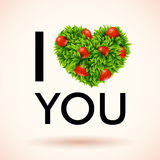 I love you. Heart made of leaves and strawberries. Vector illust Royalty Free Stock Photo
