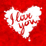 I love you heart red background painted with Stock Photos