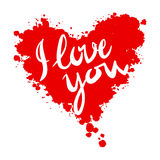 I love you heart red background painted with Royalty Free Stock Images