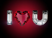 I love you. Heart shape gemstone Royalty Free Stock Photography