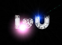 I love you. Heart shape gemstone. Collections of jewelry gems Royalty Free Stock Photo