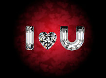 I love you. Heart shape gemstone. Collections of jewelry gems Royalty Free Stock Photography