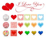 I Love You - Heart Symbol Set. Vector Shape Collection. Flat and. 3D Designed Colorful Icons Isolated on White Background vector illustration