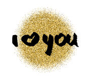 I love you.  heart . Valentines day calligraphy glitter card. Hand drawn design elements. Handwritten modern brush lettering. Royalty Free Stock Image