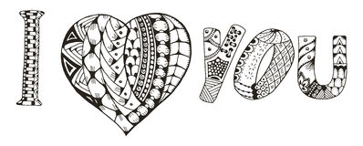 I love you with heart zentangle stylized on white background,  Royalty Free Stock Photography