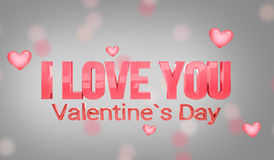 I love you hearts background 3d render Royalty Free Stock Image