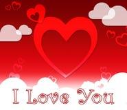 I Love You Hearts Shows Romance And Loving. I Love You Hearts And Clouds Shows Romance And Loving stock illustration
