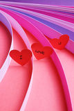 I Love You hearts with strips of colored paper - Series 2 Royalty Free Stock Photos