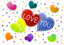 I Love You Hearts Valentine Card royalty free stock photo