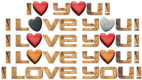 I Love You - Hearts and Wooden Letters. Set of I Love You! written with typefaces in wood with stone and wooden hearts Stock Photography