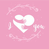 I love you. I heart you. Heart and hands with lettering isolated on pink background. Design for holiday greeting card royalty free illustration