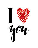 I love you. I heart you. inscription Hand drawn lettering isolated on white background. Stock Images