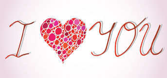I love you. I heart you. Valentines day greeting card with calligraphy on pink background. Hand drawn design elements Royalty Free Stock Images