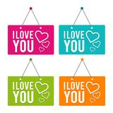 I love you with Icon hanging Door Sign. Eps10 Vector. Valentine`s Day Stock Photos