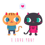 I Love You illustration with cute cats couple Stock Photo