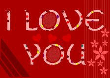 I Love you background in red Royalty Free Stock Photography