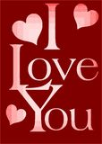 I Love you greeting card in red Stock Photo