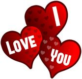 isolated hearts with words I love you Royalty Free Stock Photo