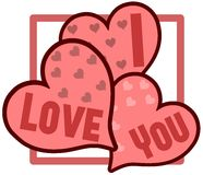 isolated hearts with words I love you Stock Images