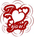 nice I love you background in red and white  Stock Photo