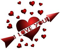 heart with word I love you isolated Royalty Free Stock Photos