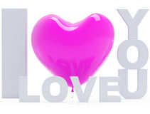 I love you. The inscription I love you with a beautiful ball heart Stock Photos