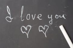 I love you inscription in chalk on blackboard Royalty Free Stock Photos