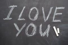 I love you inscription in chalk on blackboard Royalty Free Stock Image