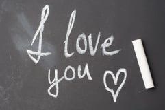 I love you inscription in chalk on blackboard Stock Images