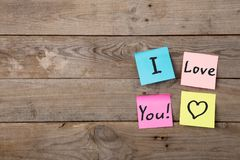 I love you inscription on colorful stickers royalty free stock images