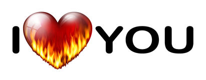 I love you inscription. Inscription I love you with a flaming heart Stock Image
