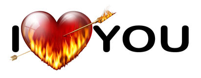 I love you inscription. Inscription I love you with a flaming heart pierced by an arrow from Cupid Stock Photo
