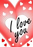 I love you inscription in heart blending shape. Declaration of love, greeting beloved girl, modern Valentine day theme Royalty Free Stock Photos
