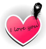I love you. The inscription on the heart. Illustration Stock Images