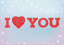 I Love you inscription with heart symbol made of small heart shapes on blue soft background. Royalty Free Stock Photos