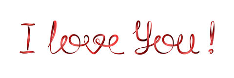 I Love You! Inscription Love declarations of red ribbons. Vector elements for design Stock Photo