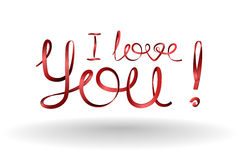 I Love You! Inscription Love declarations of red ribbons. Vector elements for design Stock Photography