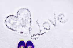 I love you. The inscription on the snow, `I love you royalty free stock image