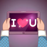 I love you inscription on tablet pc screen Royalty Free Stock Images